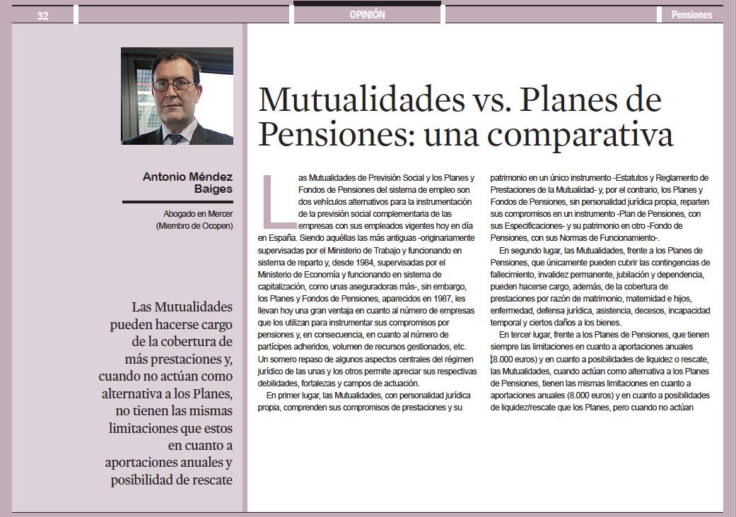 Mutualidades de Previsión Social y Planes y Fondos de Pensiones