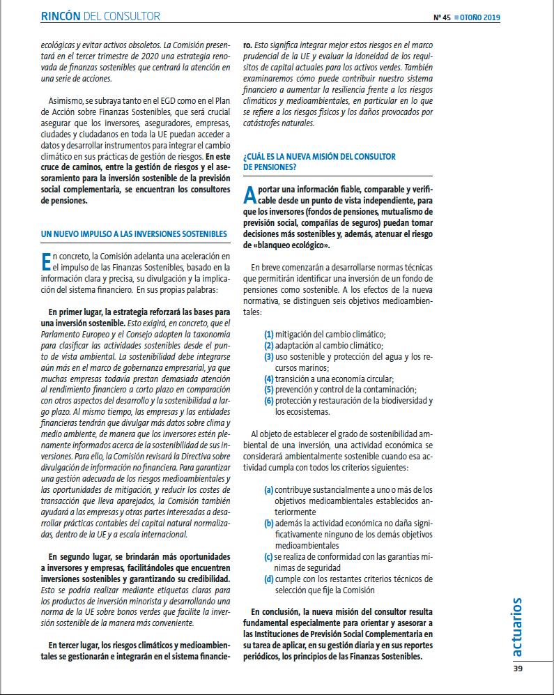 Consultoría de pensiones y finanzas sostenibles II