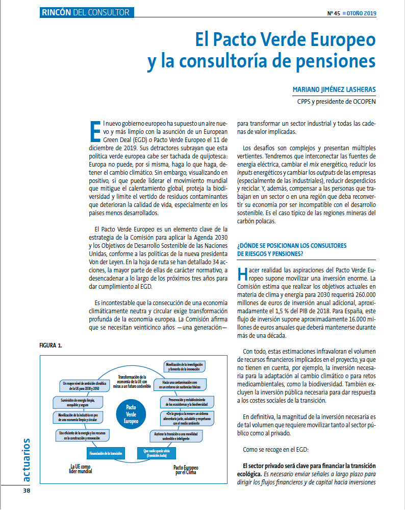 Consultoría de pensiones y finanzas sosteniblesI